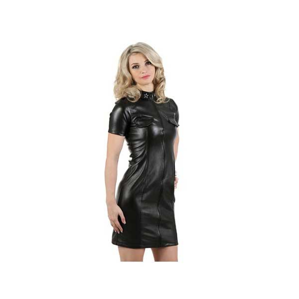 Clothing - Strict black leather dress
